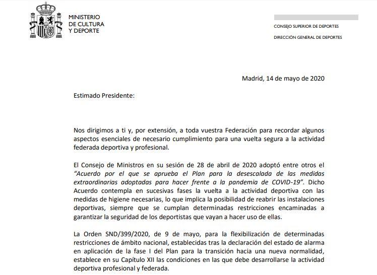 Carta del CSD a la RFEK