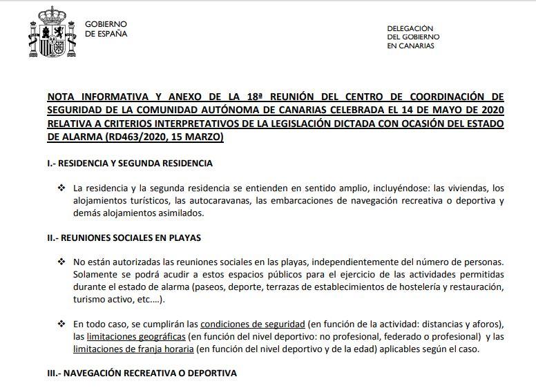 Actualización: 14 de mayo para la fase 1 en Canarias