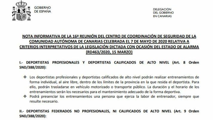 Actualización: 7 de mayo para el deporte Federado en Canarias