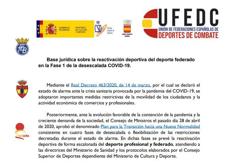 UFEDC reactivación deporte federado en Fase 1