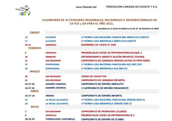 Calendario Federación Canaria de Karate 2021