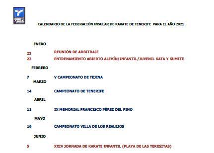 Calendario Federación Tinerfeña de Karate 2021